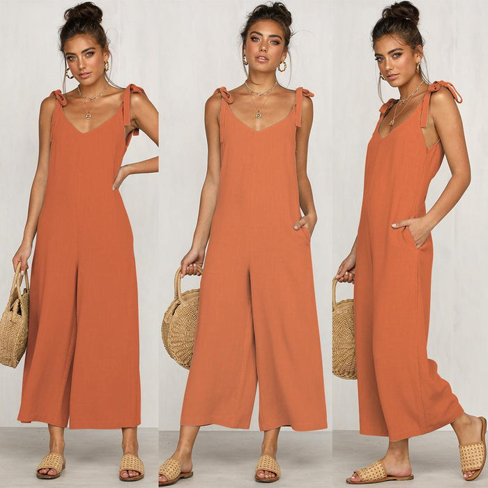 Sleeveless Sling V-Neck Tie Wide-Leg Pants
