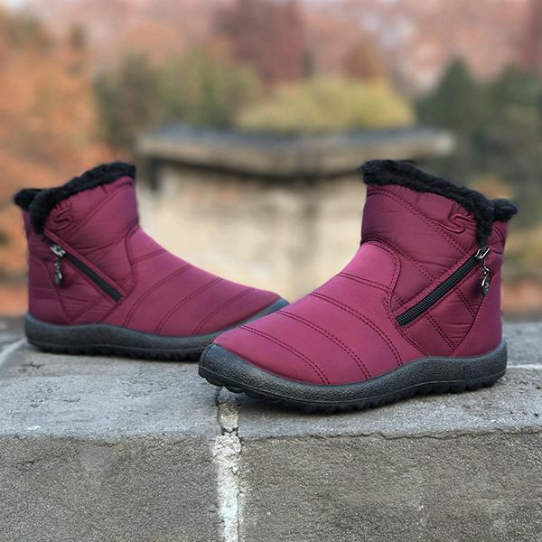Women Comfy Warm Zipper Snow Boots