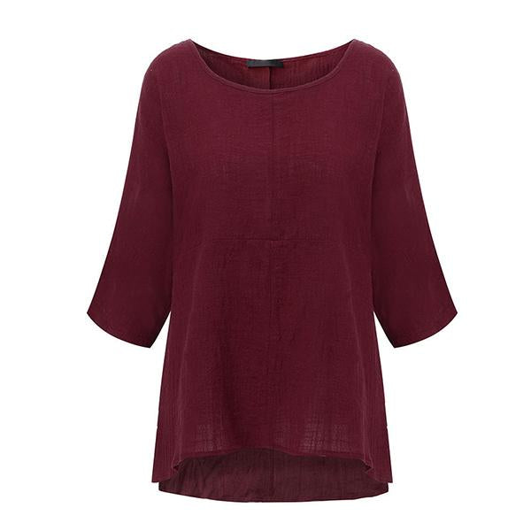 Women's Round Neck Vintage Linen Loose Tunic Pullover 3/4 Sleeve Blouse