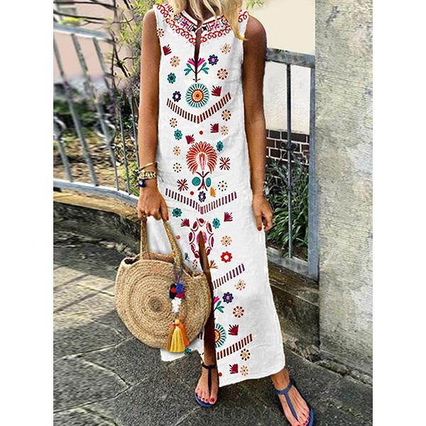 Fashion Casual Floral Maxi Slit Dress