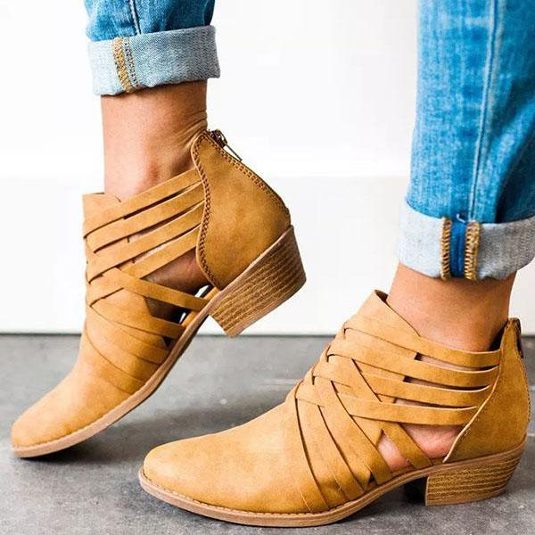 Fashion Criss-Cross Ankle Heel Hollow-out Boots