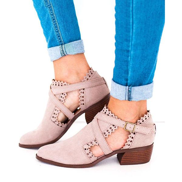 Fashion Low Heel Hollow-out Buckle Strap Boots