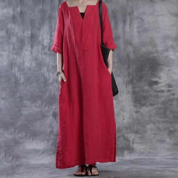 Loose Cotton Vintage Maxi Long Loose Dresses