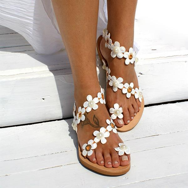 Casual Flower Slip On Sandals