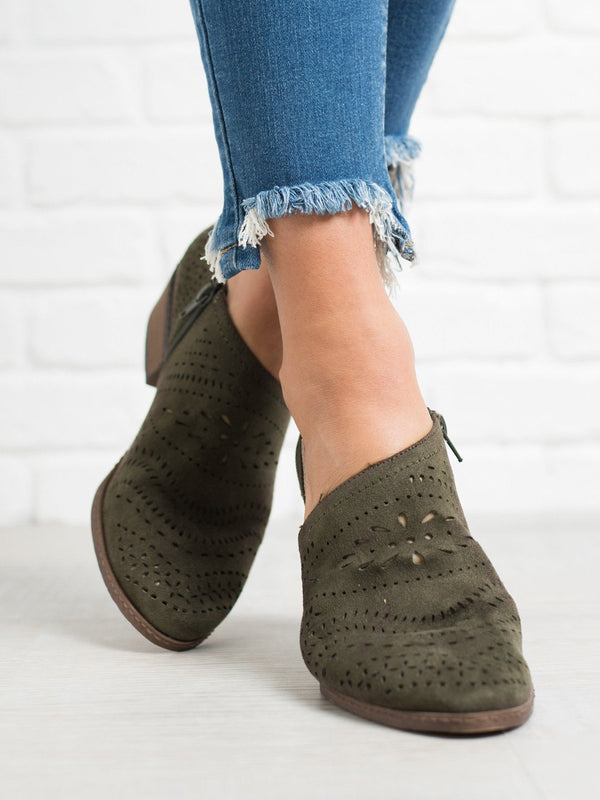 Women's Hollow-out Low Heel Faux Suede Zipper Ankle Casual Boots