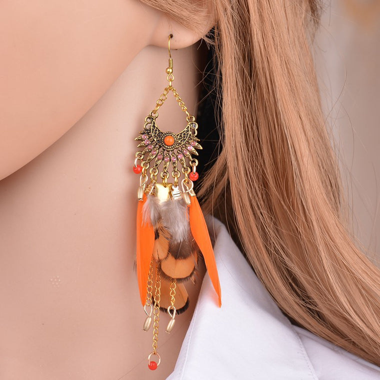 Women Tassel Long Feather Pendant Earrings