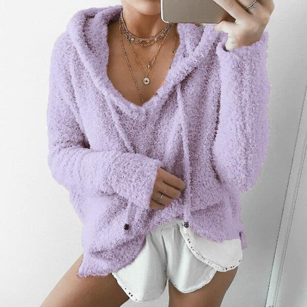 Fleece Hooded Solid Color Casual Long Sleeve Sweatshirts