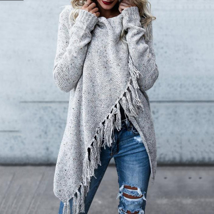 Gray H-line Long Sleeve Plain Knitted  tassels Cardigan