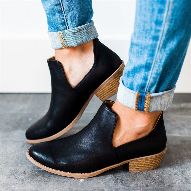 Women Cut Out Ankle Slip-On Booties Low Heel Boots