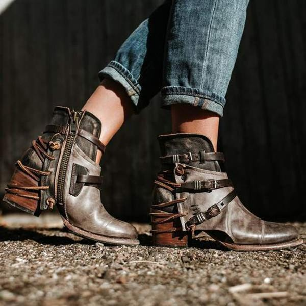 Vintage Plus Size Casual Comfort Lace-up Booties