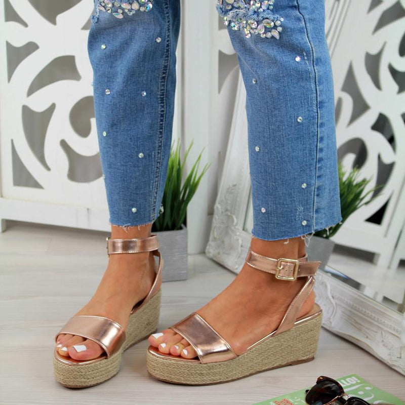 Casual Espadrille Open Toe Wedge Sandals