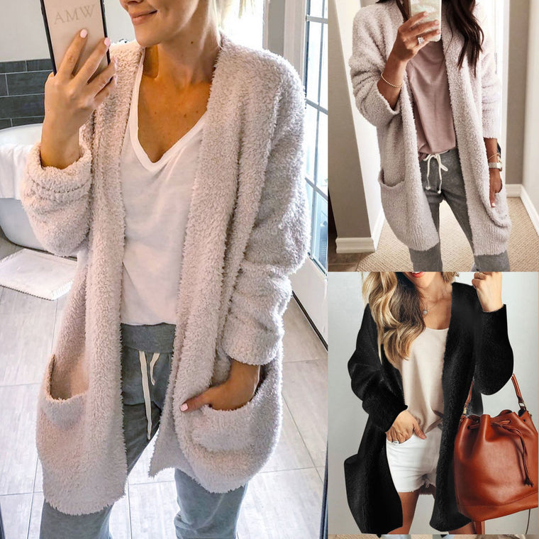 Polyester Casual Patchwork Coat&Cardigan