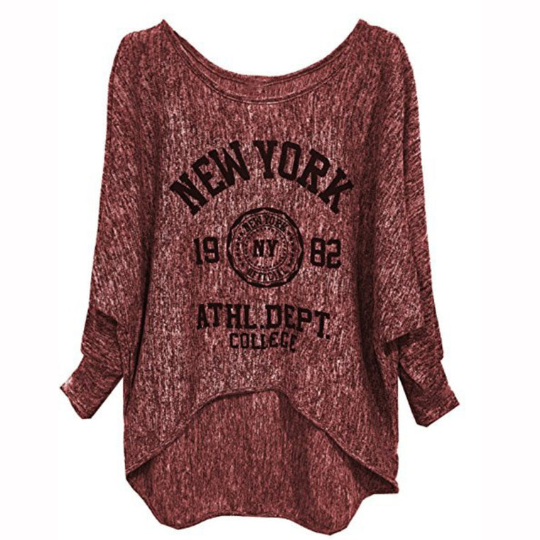 Plus Size Long Sleeve Letter Cotton Casual T-Shirt