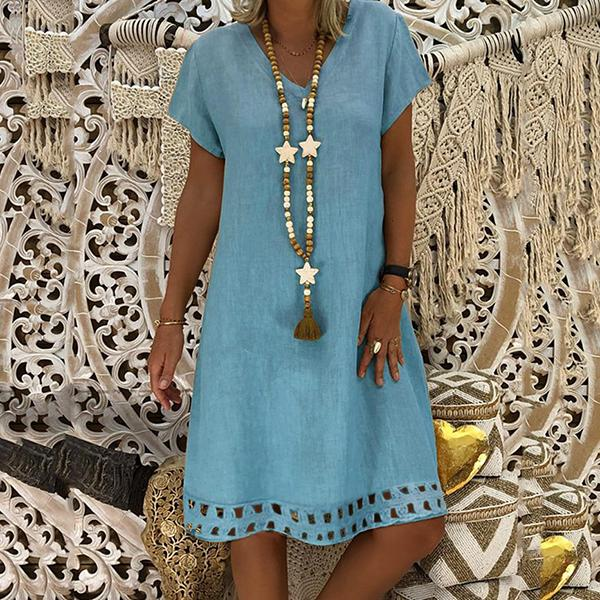 Casual Hollow Loose Solid Color Dresses
