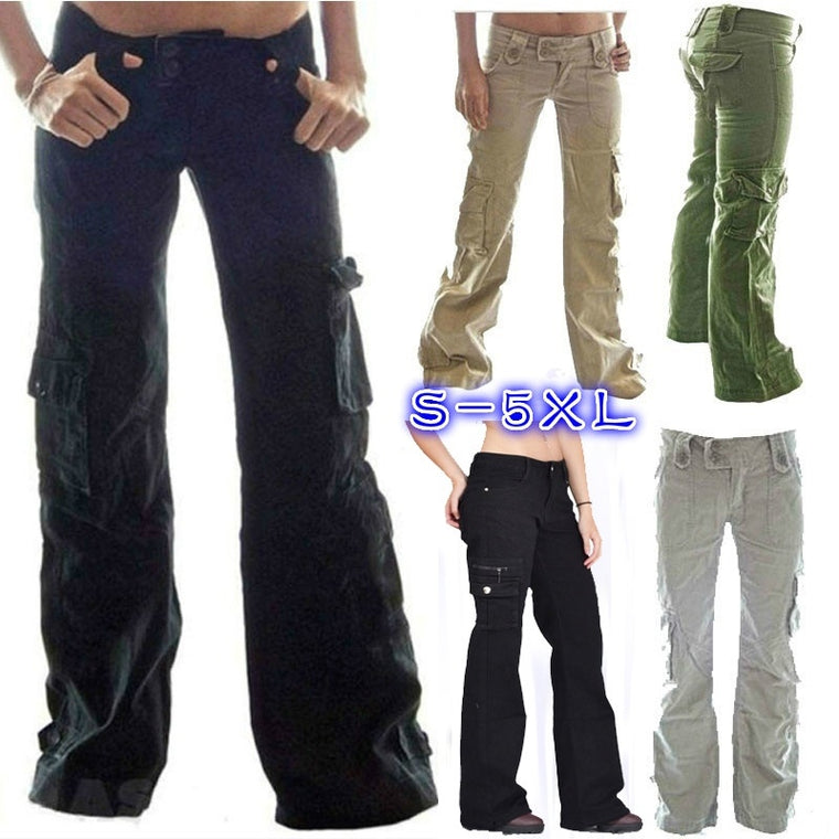 bb43a614040 Plus Size Solid Color Pockets Cargo Pants Straight Trousers