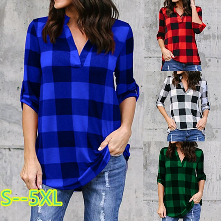 Women Casual  V-neck Long Sleeves Lattice Printing LooseT-shirt