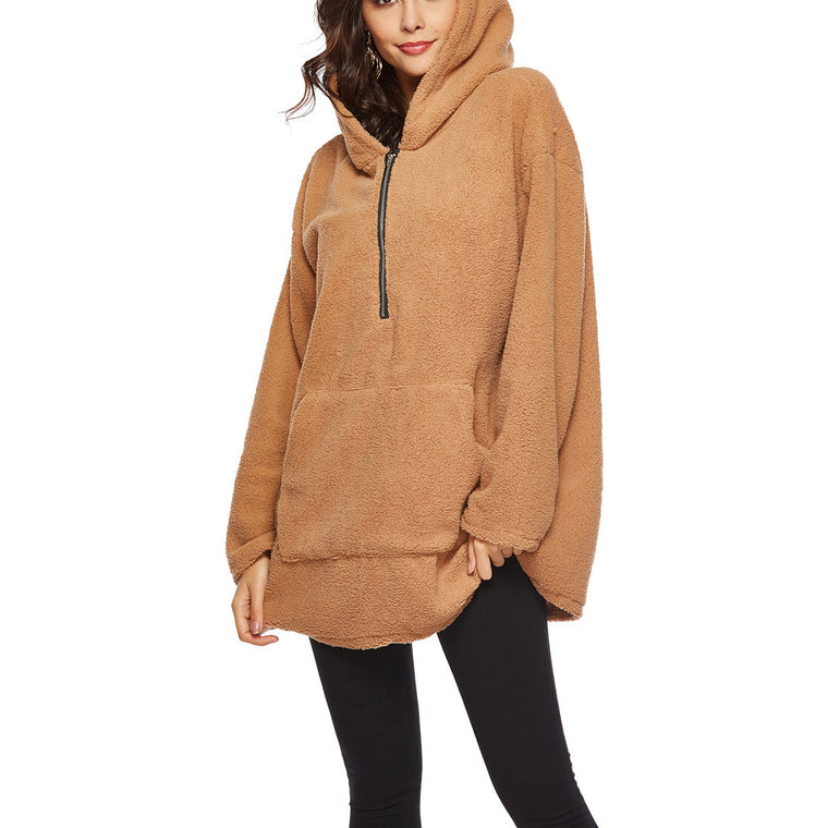Women Oversized Loose Plain Pockets  Hoodie Zipper Sweatshirts