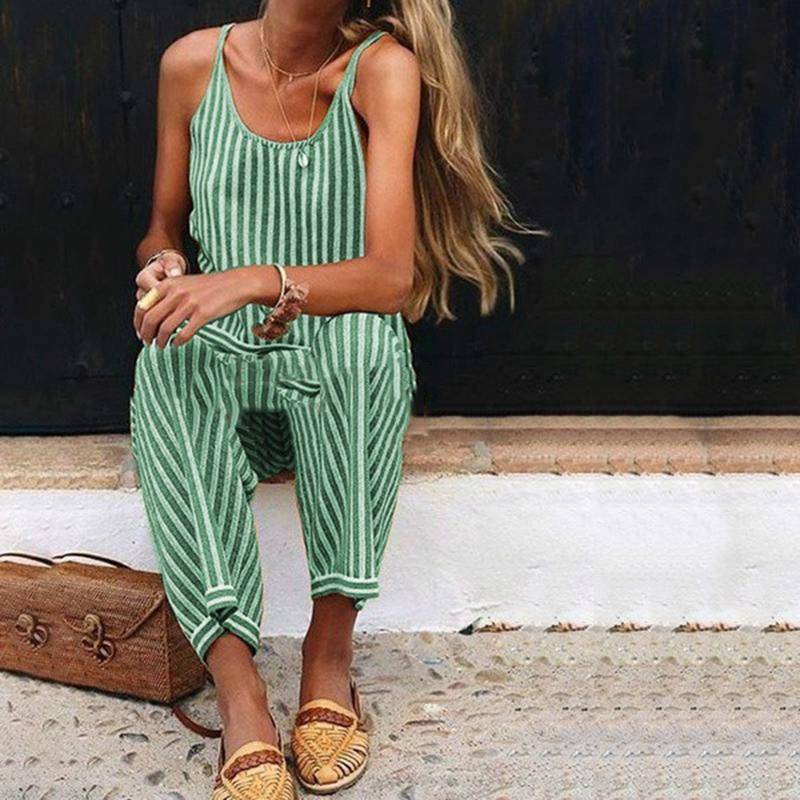 Casual Fashion Sleeveless Striped Jumpsuit