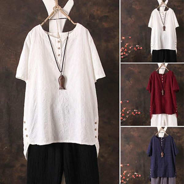 Women Vintage Solid Leisure Linen Blouse