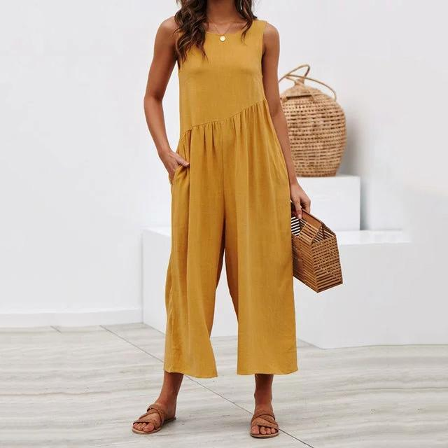52f94a59f35 Crew Neck Linen Sleeveless Solid Bohemian Jumpsuits – laddytopia