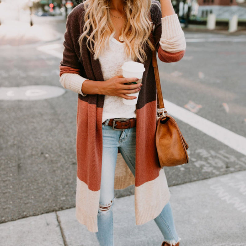 Casual Long Sleeve Solid Cotton-Blend Cardigans