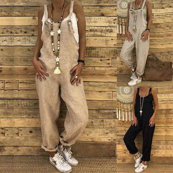 Loose Casual Linen Cotton Jumpsuit