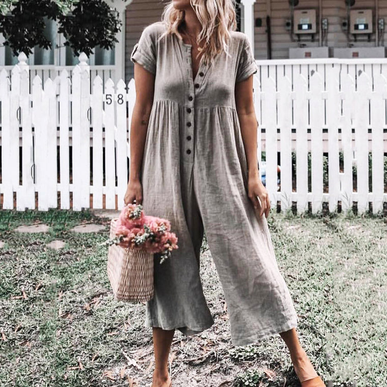 Casual Solid Short Sleeve Romper Jumpsuits