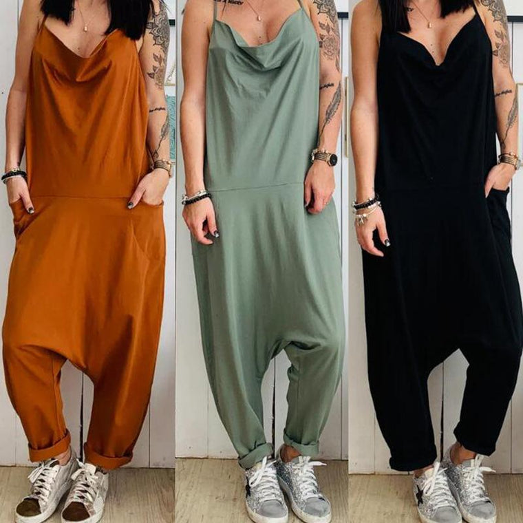 Sexy Casual Loose Sling Linen Jumpsuit