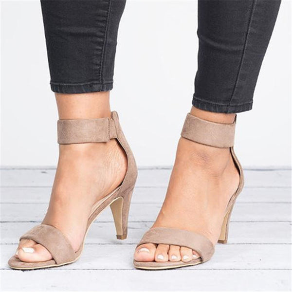 Women Casual Strap Zipper Mid Heel Sandals