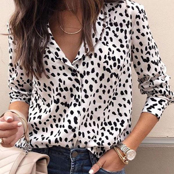 Casual Turn Down Collar Leopard Blouses