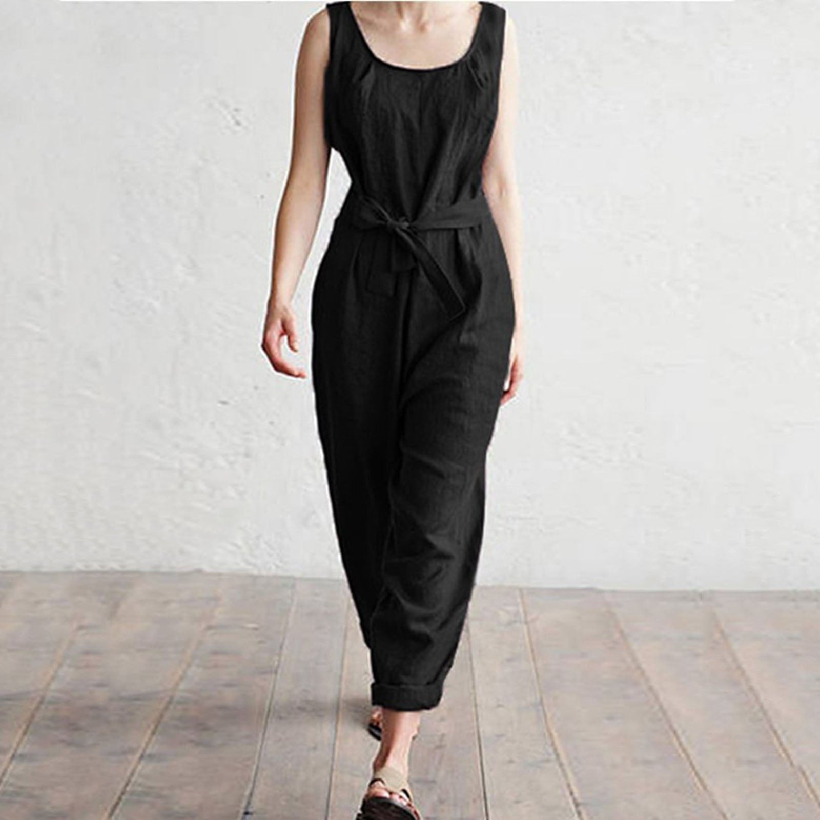 c0bfddb0265 Casual Cotton Sleeveless Pockets Jumpsuits – laddytopia