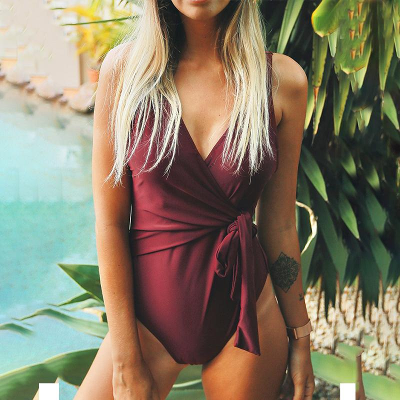 Sexy Back Hip Straps One-Piece Swimsuit