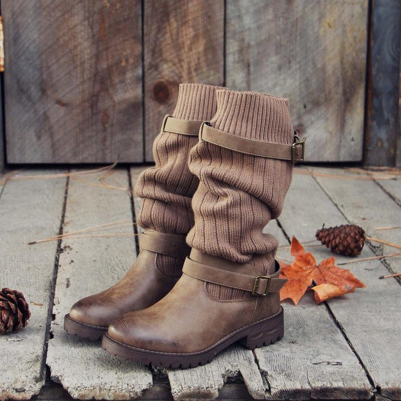 Vintage PU Paneled Sweater Casual Boots