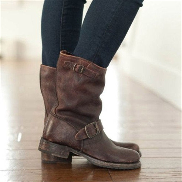 Block Heel Adjustable Buckle Boots Riding Plus Size Boots