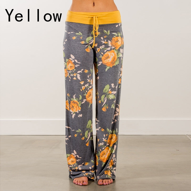 Women Flared Causal Trousers Loose Drawstring Wide Leg Pants