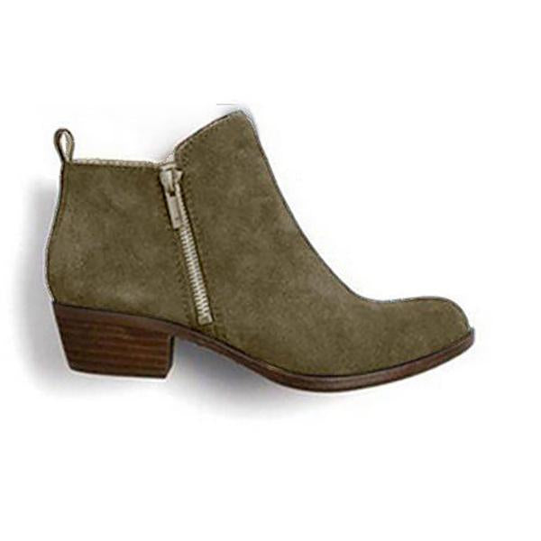 Vintage Leather Suede Chunky Heel Ankle Boots