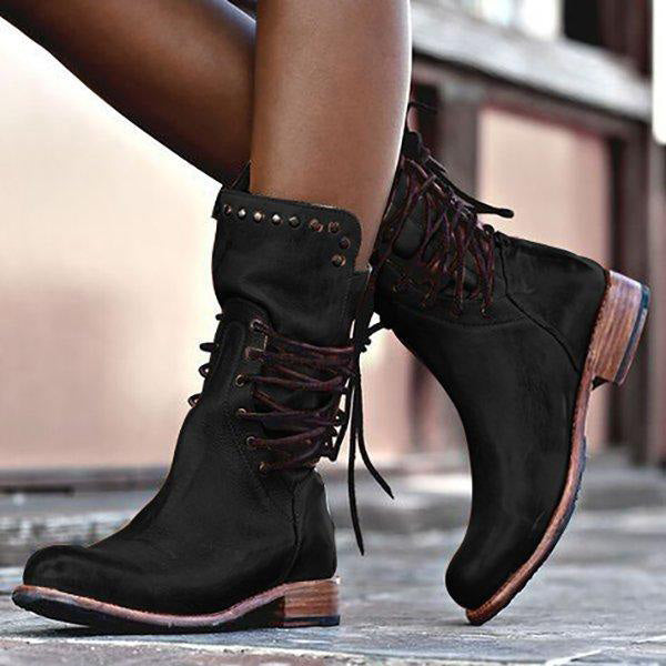 Vintage Lace-Up Back Zipper Mid-calf Boots