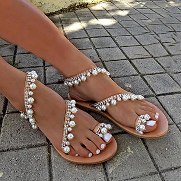 Plus Size Handmade Sandals Pearls Summer Flat Sandals