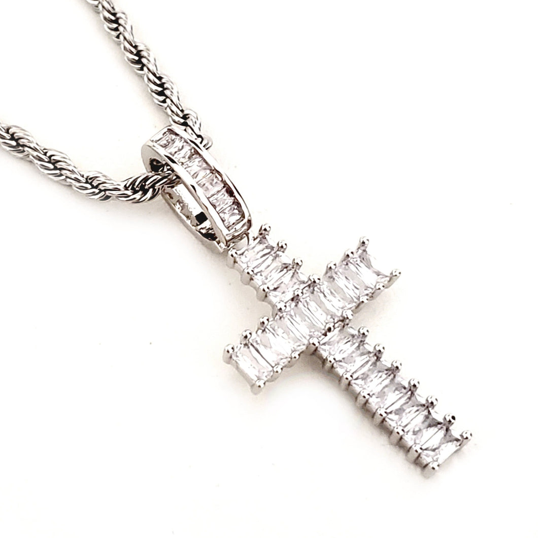 CROSS IN BAGUETTES - SILVER