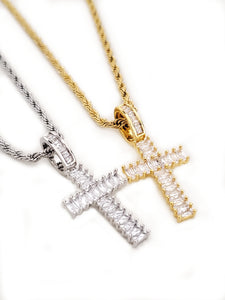 CROSS IN BAGUETTES - GOLD