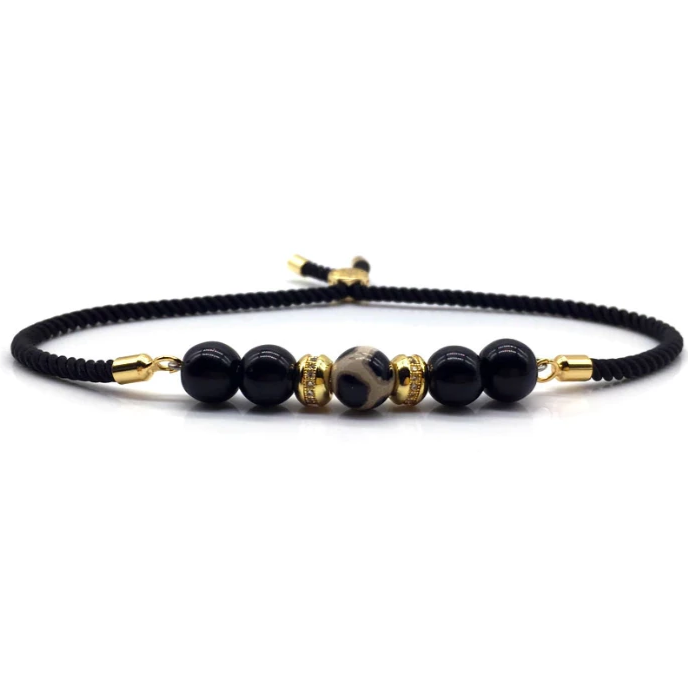 SG Apparel - Onxy rope bead bracelet gold by Sam Gowland from geordie shore