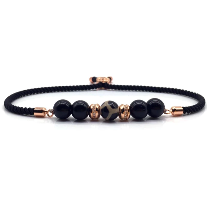 SG Apparel - Onxy rope bead bracelet rose gold by Sam Gowland from geordie shore