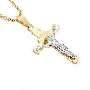 CRUCIFIX CHAIN - TWO TONE