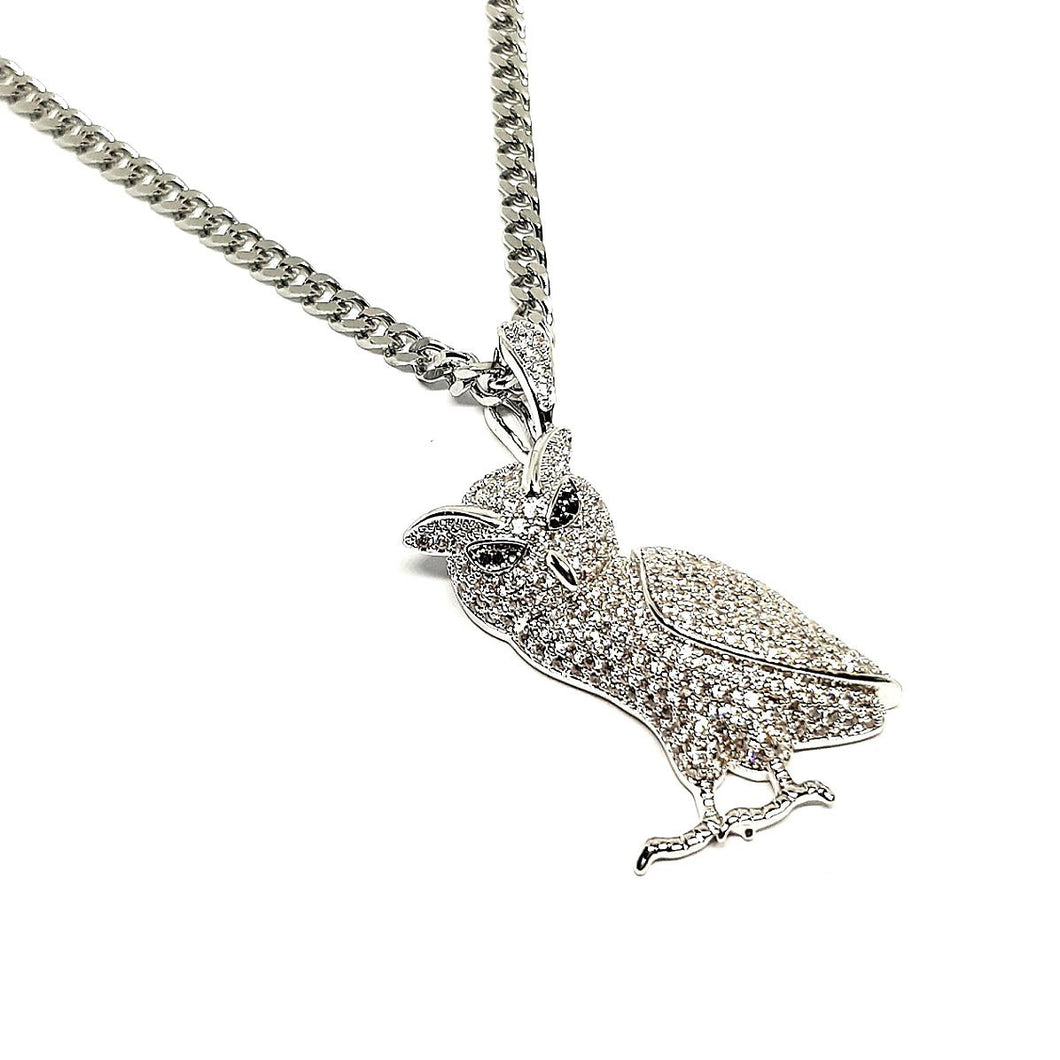 Silver Iced owl by sam gowland from geordie shore. diamond owl