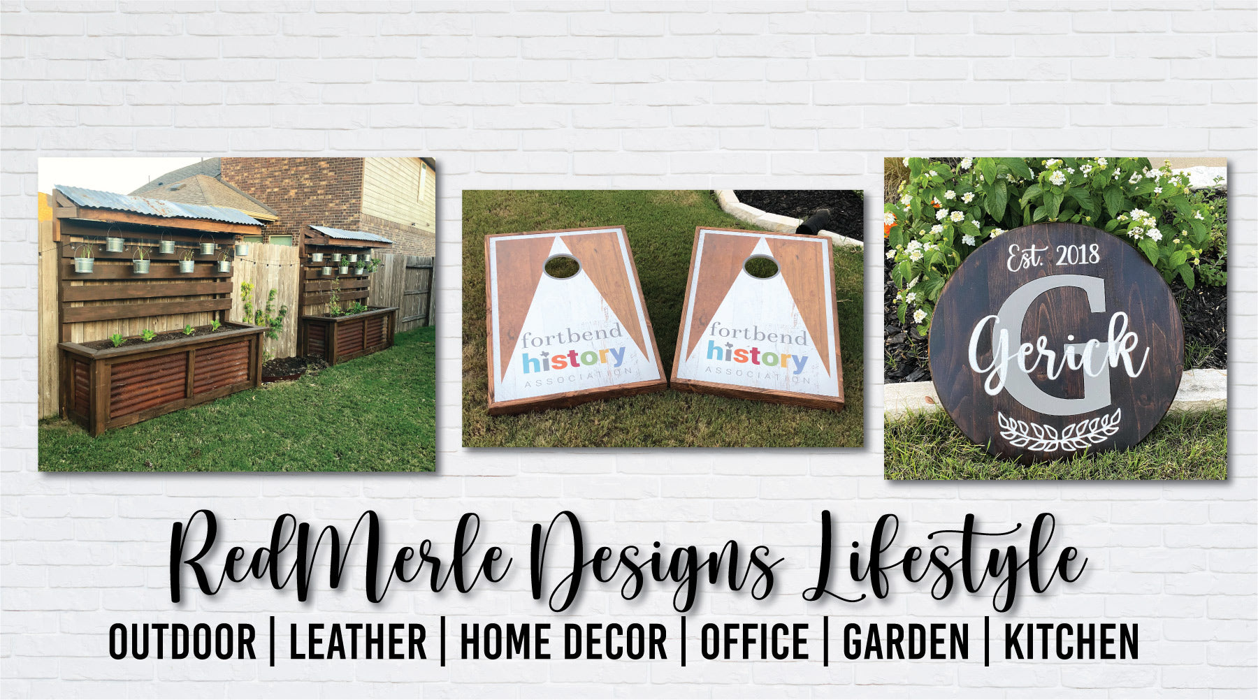 Backyard Garden with custom corn hole board and lazy susan