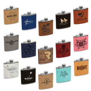 Engraved Leather Flask Set
