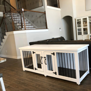 White and black custom metal dog kennel in Houston Texas