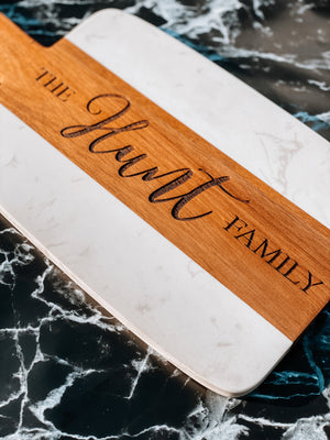 Personalizable | Laser Engraved | Marble and Wood Cutting Board