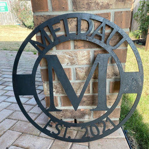 Block Family Name Sign | Metal Cutout