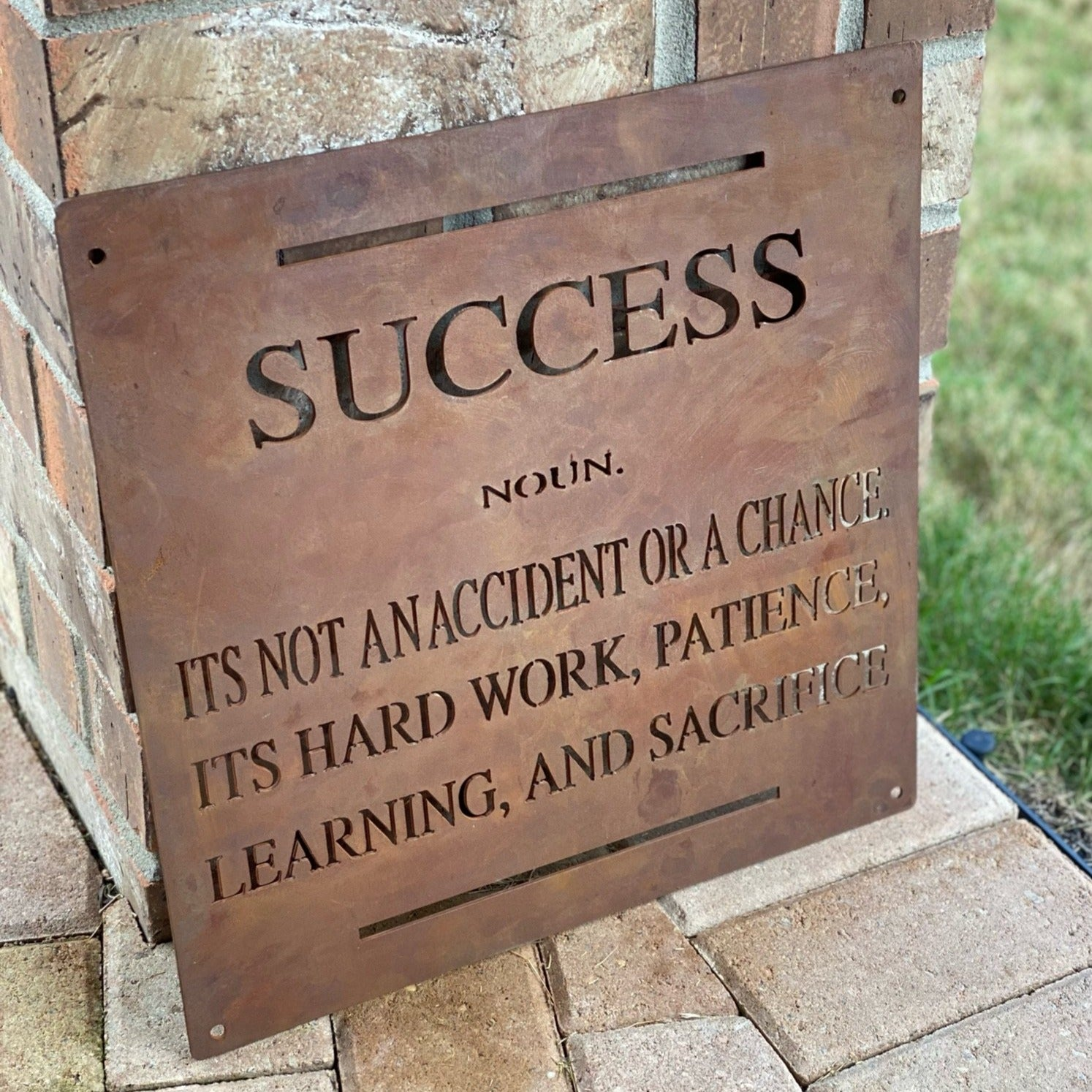 Success Motivational Metal Sign